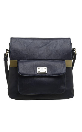 CLASSIC FLAP TOP FRONT POCKET CROSS BODY BAG NAVY by BESSIE LONDON