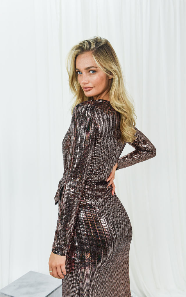 Delilah Rose Gold Sequin Midi Dress by Style Cheat