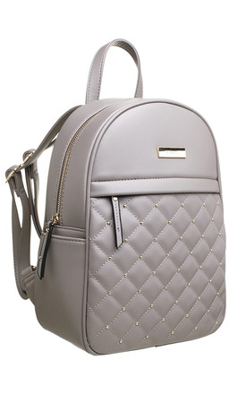 QUILTED STUDDED FRONT POCKET BACKPACK by BESSIE LONDON