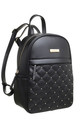 QUILTED STUDDED FRONT POCKET BACKPACK BLACK by BESSIE LONDON