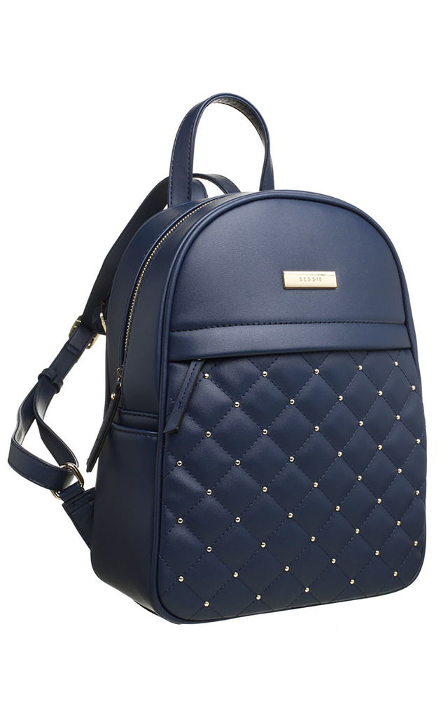 QUILTED STUDDED FRONT POCKET BACKPACK NAVY by BESSIE LONDON