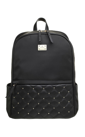 LARGE QUILTED STUDDED BACKPACK BLACK by BESSIE LONDON