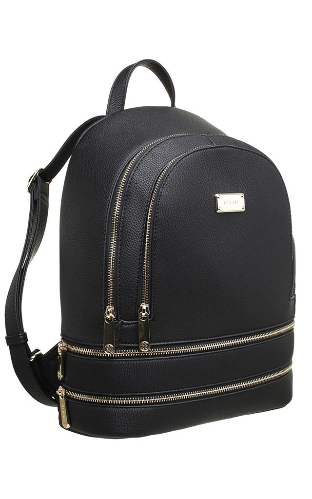 ZIP FEATURED DOUBLE POCKET BACKPACK BLACK by BESSIE LONDON
