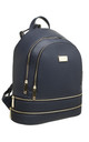 ZIP FEATURED DOUBLE POCKET BACKPACK NAVY by BESSIE LONDON
