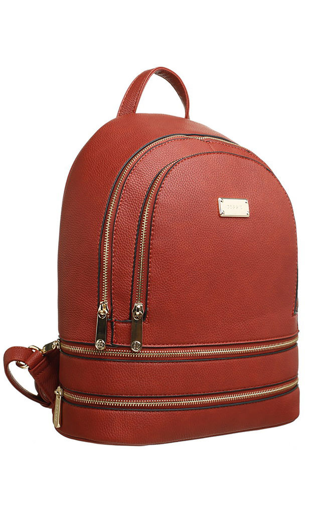 ZIP FEATURED DOUBLE POCKET BACKPACK ORANGE by BESSIE LONDON