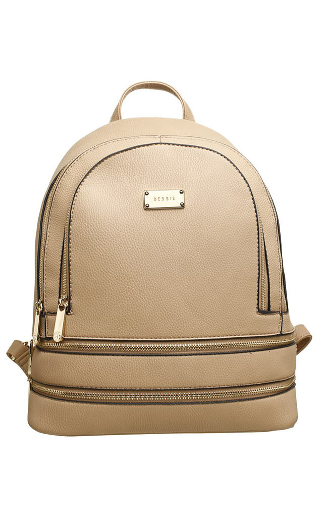 ZIP FEATURED DOUBLE POCKET BACKPACK STONE by BESSIE LONDON