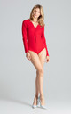 Red Long Sleeve Bodysuit with V Neck by FIGL
