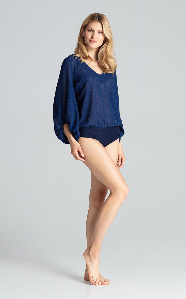 Navy Long Sleeve Brocade Bodysuit by FIGL