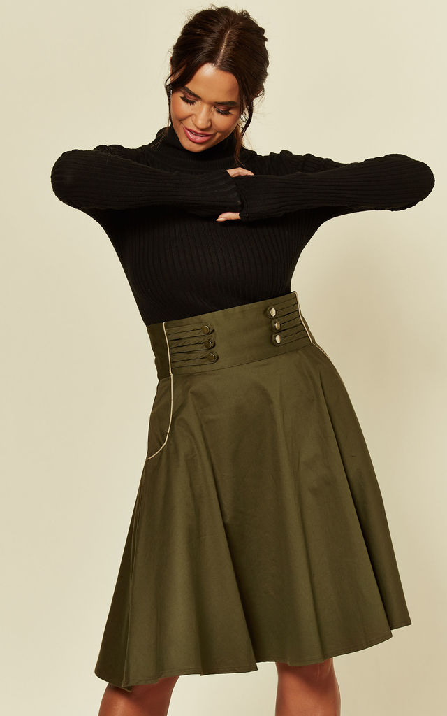 Martha High Waisted Flared Skirt in Green by Voodoo Vixen