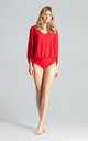 Red Long Sleeve Brocade Bodysuit by FIGL