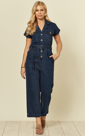 Poppy Denim Utility Jumpsuit with Short Sleeves by Voodoo Vixen