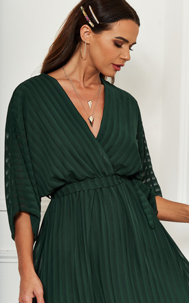 Forest Green Plunge Maxi Dress by Bella and Blue