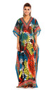 Kimono Kaftan Dress In Red & Blue Print by Looking Glam
