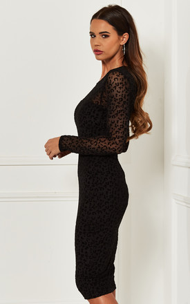 Black leopard velvet burn out bodycon dress by Bella and Blue