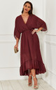 Exclusive Burgundy Plunge Maxi Dress by Bella and Blue