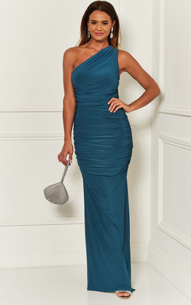 Angelina Teal One Shoulder Bridesmaid Dress by Revie London Product photo