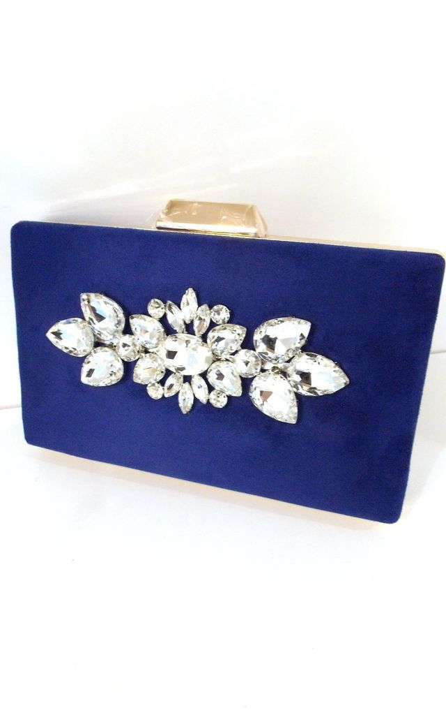 Blue And Crystal Jewelled Box Clutch Bag by Olivia Divine Jewellery