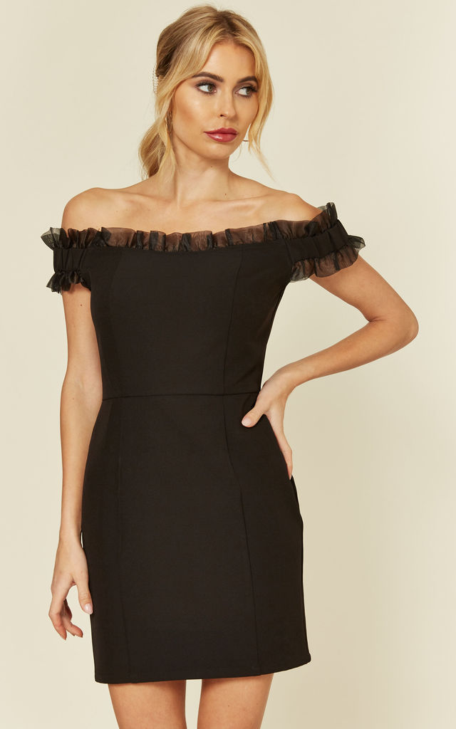 Black Bardot Mini Dress With Organza Frill by Another Look