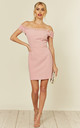 Baby Pink Bardot Mini Dress With Organza Frill by Another Look