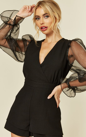 Wrap Front Playsuit with Organza Long Sleeves in Black by Another Look