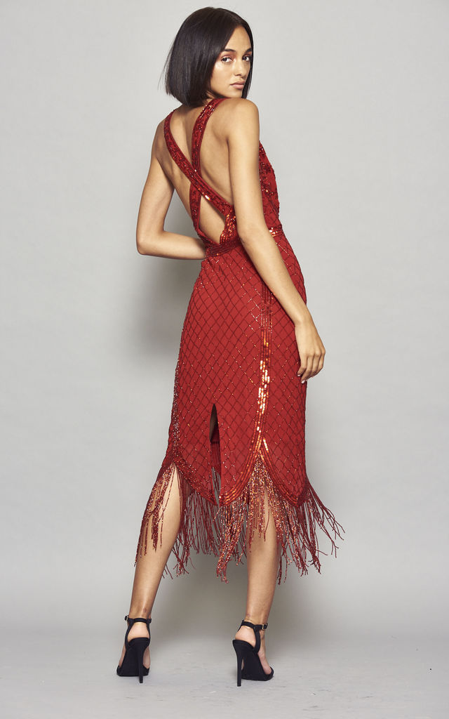 Ilana Embellished Cross Back Flapper Dress with Fringing by Frock & Frill