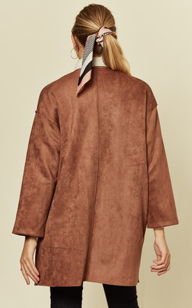 Brown Faux Suede Round Neck Lightweight Coat by Shikha London
