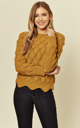 Leaf Lace Pattern Knitted Long Sleeve Jumper in Yellow Mustard by Shikha London