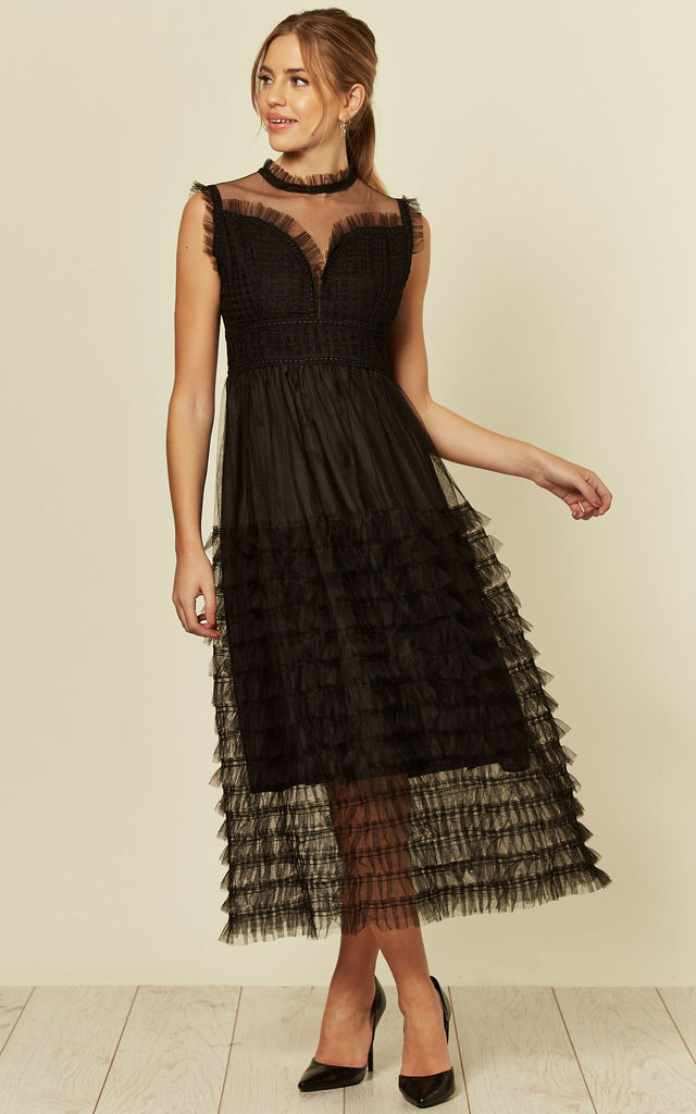 Black Tulle Mesh Ruffle Tiered Midaxi Dress by Shikha London