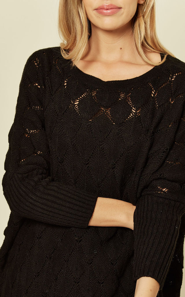 Leaf Weave Loungewear Jumper with Long Sleeves in Black by URBAN TOUCH