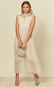 Cream Tulle Mesh Ruffle Tiered Midaxi Dress by Shikha London