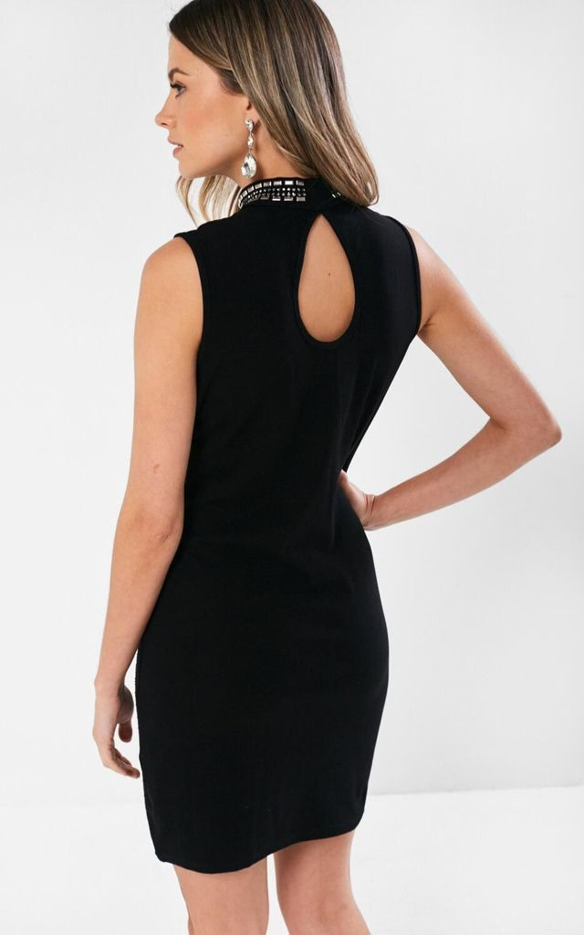 Embellished Sleeveless Dress in Black by Marc Angelo