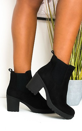 Betty Faux Suede Chunky Heel Boots in Black by IKRUSH