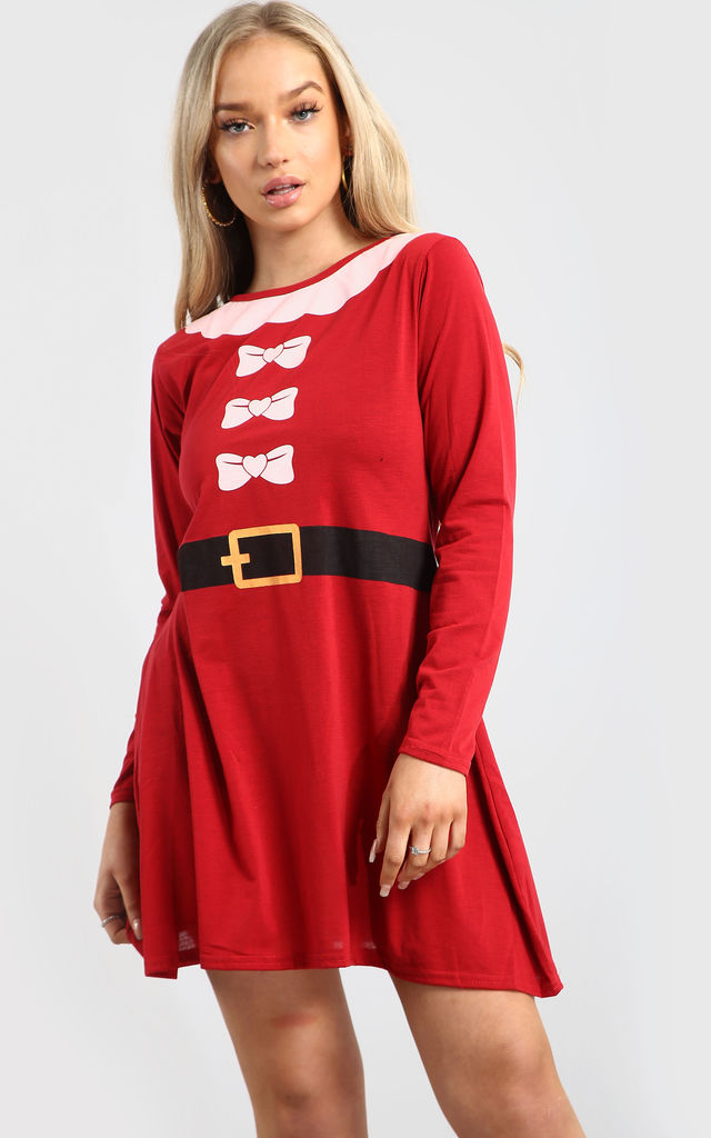 Summer Christmas Swing Dress In Red by Oops Fashion