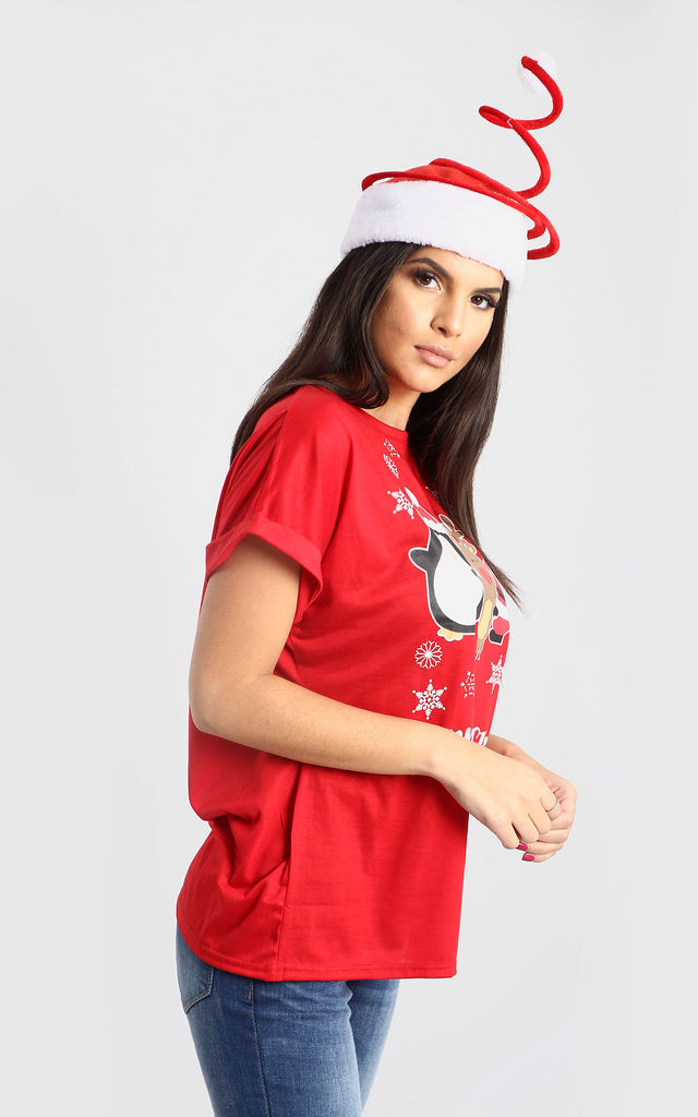 Nicole Christmas T shirt In Red by Oops Fashion