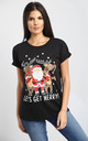 Felicity Christmas Printed T Shirt In Black by Oops Fashion