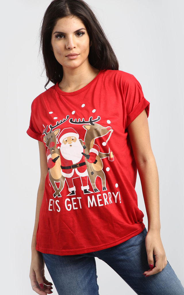 Felicity Christmas Printed T Shirt In Red by Oops Fashion
