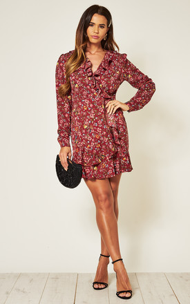 Long Sleeve Wrap Dress in Dark Red Floral Print by Another Look