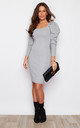 Kate Puff Sleeve Knit Jumper Dress Grey by Girl In Mind