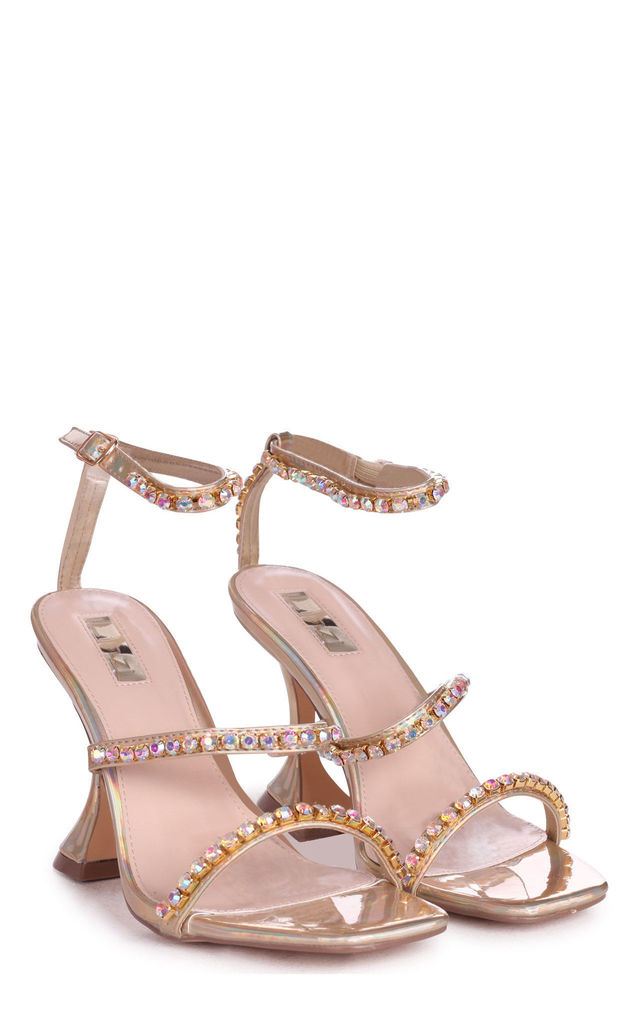 Millionaire Gold Diamante Flared Heels by Linzi