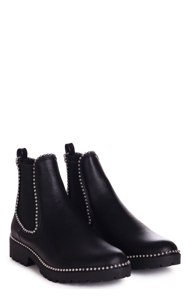 Rule Black Chelsea Boot With Silver Studs by Linzi