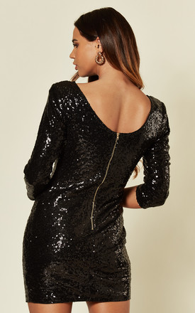 3/4 Sleeve Short Sequin Mini Dress in Black by LOVEMYSTYLE
