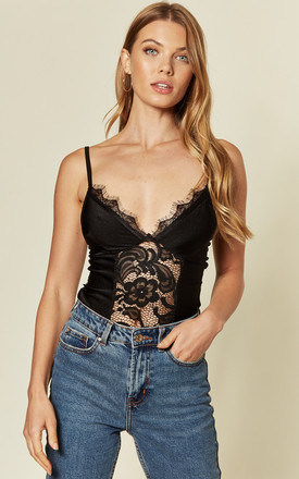 Strappy Lace Front Plunge Black Body by KRISP