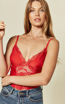 Strappy Lace Front Plunge Red Body by KRISP
