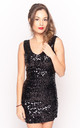 V Neck Sequin Mini Dress in Black by CY Boutique