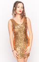 V Neck Sequin Mini Dress in Gold by CY Boutique
