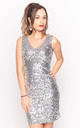 V Neck Sequin Mini Dress in Silver by CY Boutique