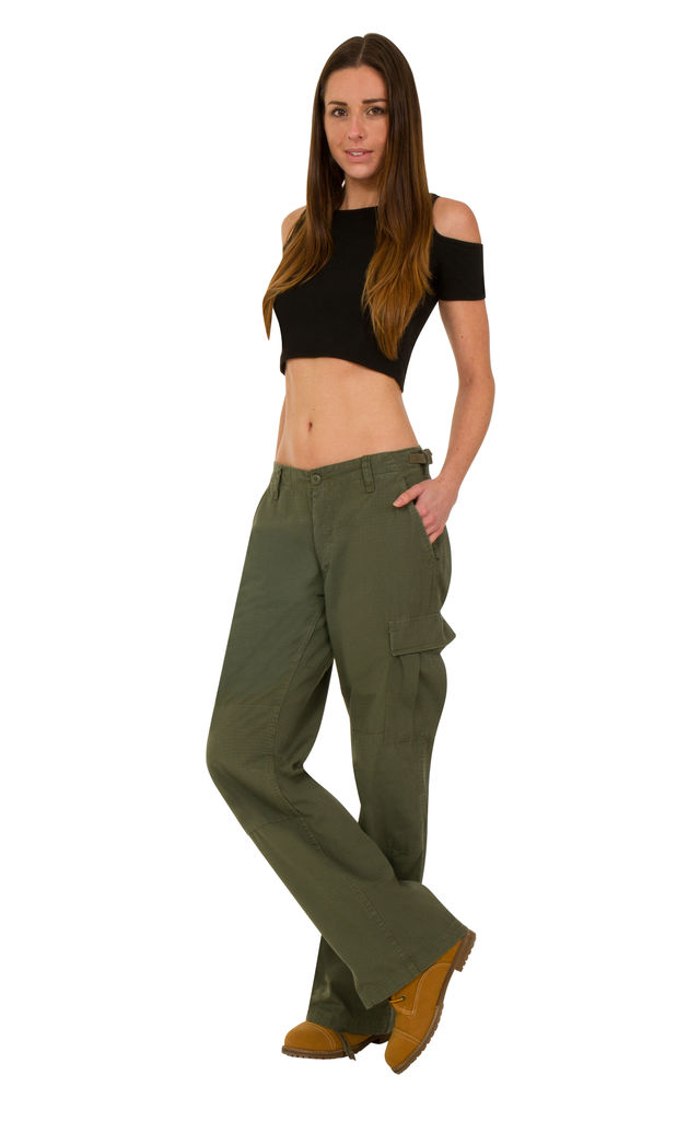 Green Wide Leg Cotton Cargo Trousers by Glamour Outfitters