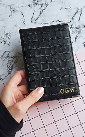 Personalised black passport holder by Rianna Phillips