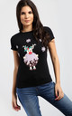 Mia Christmas Pudding Tshirt In Black by Oops Fashion