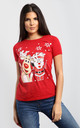 Eva Christmas Santa & Rudolph Print Cap Sleeve Tshirt In Red by Oops Fashion
